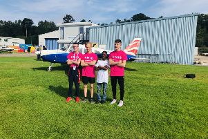Four blind and partially sighted young people from Edinburgh had a chance to experience the thrill of flying and have their adventure shown coast to coast on American television.