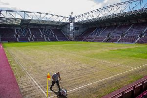 Hearts pitch looked a little worse for wear after the Fringe show two Fridays ago. Pic: SNS