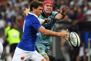 Scotland's Grant Gilchrist chases down the ball against France last weekend. Pic: SNS