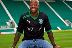 Junior Agogo pictured at Easter Road during his spell with Hibs