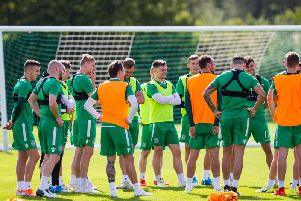 The Hibs players are put through their paces at East Mains