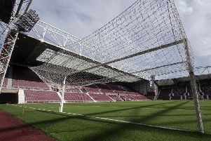 There are a large number of players at Tynecastle Park. Pic: SNS