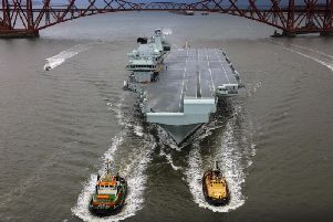 HMS Queen Elizabeth in the Firth of Forth earlier this year. Picture: PA