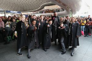 Cast members from Harry Potter and the Cursed Child perform at London Kings Cross Station. Picture: Chris Radburn/PA Wire