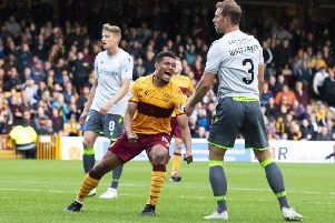 Hibs found the going tough against Livingston. Pic: SNS