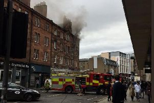 The Scottish Fire Service has sealed off the street. Picture:  @tobyfcook/Twitter