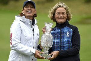 Team USA captain Juli Inksterand Team Europe captain Catriona Matthew pose with the trophy at Gleneagles Golf Club