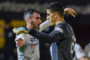 Hearts' Michael Smith and Joel Pereira celebrate after Hearts' win over Motherwell in the Betfred Cup. Pic: SNS