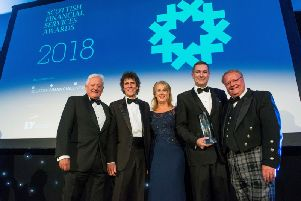 2018's awards - pictured from left are Barclays chairman John McFarlane, SFE chairman Jim Pettigrew, EY head of financial services in Scotland Sue Dawe, head of Barclays in Scotland Scott Stewart, and SFE chief executive Graeme Jones. Picture: contributed.