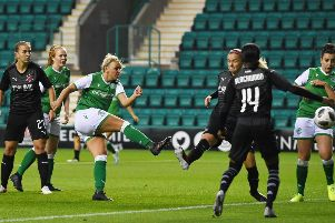 Siobhan Hunter gives Hibs the lead against Slavia Prague. Picture: Ross MacDonald/SNS