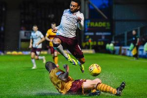 Jake Mulraney in action against Motherwell earlier this season - Hearts won 2-1. Picture: SNS