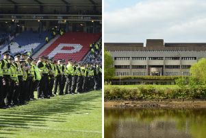 Police line up during the cup final between Rangers and Hibs/ Glasgow Sheriff Court. Pictures: JPI Media/ Buttons and Fluff-Shutterstock.