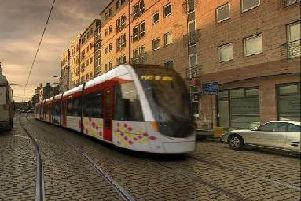 A photo illustration of a tram on Constitution Street.