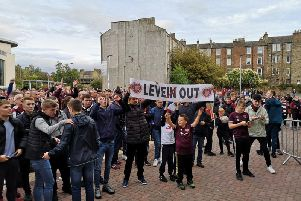 Hearts fans outside the Main Stand.