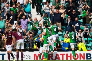 Hibs fans are close to selling out the Edinburgh derby. Picture: SNS