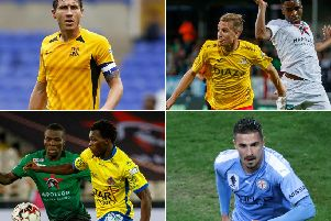 Clockwise from top left: Mark Milligan (Southend), Stephane Omeonga (Cercle Brugge), Jamie Maclaren (Melbourne City) and Thomas Agyepong (Waasland-Beveren)