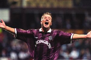 John Robertson celebrates scoring for Hearts against Celtic in 1996. Picture: SNS