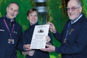 David Wright (National Trust for Scotland Fyvie Castle), Claire Matthews (Marine Macduff Aquarium), and Kevin McCormick (Grampian Transport Museum) launch the new Spring Rover Ticket