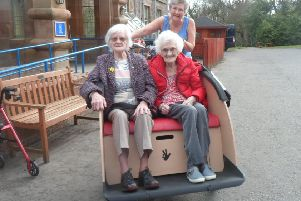 Janet and Nancy with trishaw pilot Dorothy Swan, Balmedie House activity coordinator