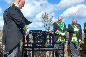 The bench unveiling ceremony in Cruden Bay