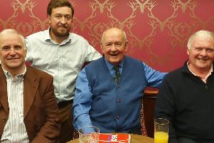 Martin Smith and host Jack Nixon with Ian Taylor and Joe Harper