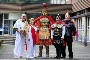 Carry On Centurion - Provost Pat Reid sees off Baillie Joan Paterson, Baillie Billy Buchanan and Councillor John McLuckie and their model Roman citizen