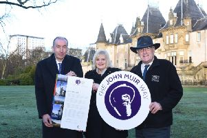 Kenneth Lawrie, chief executive of Falkirk Council; Cecil Meiklejohn, council leader; and Keith Geddes, Central Scotland Green Network Trust