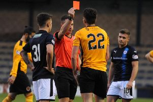 Connor McBrearty is shown a 20th minute red card. Pic: Fife Photo Agency