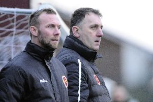 Stenhousemuir lost to league leaders Arbroath. Pictures by Alan Murray