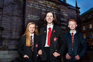 Message from the Skies winners, Arianne, Louise and Nathan, winners of Message from the Skies outside the Tron Kirk in Edinburgh