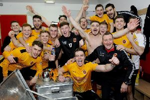 Stenhousemuir players celebrate their draw with Aberdeen at Pittodrie