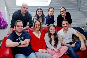 L-R (back): 'Killing Me Softly With Her Love' actors Ross Maxwell, Briony Monroe, Rebekah Lamb and film writer and producer Katie White. L-R (front): Director Colin Ross Smith with actors Kate Dickie, Mia Robertson and Kevin Guthrie.