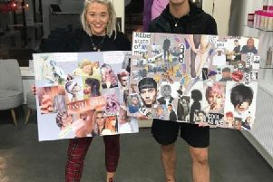 Justine Weir and Lewis Mcarthur with their mood boards which wowed the Schwarzkopf judges.
