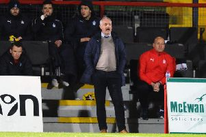 Ray McKinnon was in the dugout at Victoria Park having watched the Bairns last visit here from the stand. Picture: Michael Gillen
