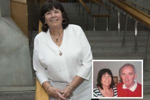 Campaigner Amanda Kopel and (inset) with her late husband Frank