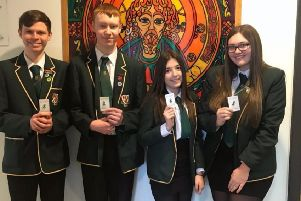 St Mungo's pupils, Dominic Pollock,Ben Sinclair, Natasha O'Hara and Sophie Matheson, who recently completed Scotland's Mental Health First Aid training