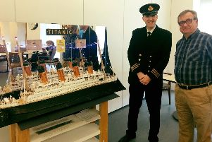 Sean Szmalc (left), director of Titanic Honour and Glory exhibition, with Bernard Matthews, a resident of the Scottish War Blinded centre in Linburn