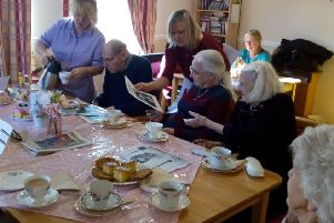 Time for tea...and memories at Bankview Care Home in Banknock where the Oscar-themed Care Words session was a box office success with residents.