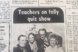 Retro nostalgia 1979: Husband and wife in TV quiz show