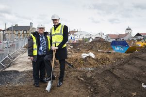 Councillor Gordon Hughes and Link chief executive Jon Turner at the site in Williamson Street