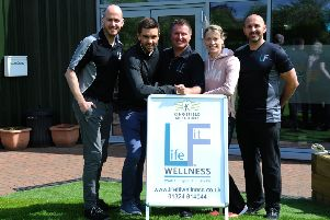 From left to right: Emmet Kennedy, physiotherapist; Colin Fleming, Tennis Scotland coach; David Bowmaker, physiotherapist; athlete Eilidh Doyle; and Brian Doyle, sports and remedial massage therapist