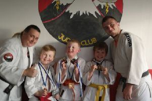 John Gibson Steven Miller Ty Bellington and Gabe Bellington who took part in the adaptive judo competition held at craigswood sport centre on Saturday the 1st June. Steven for silver for standing judo and bronze for groundwork judo John got bronze for both Ty got bronze for both and Gabe got bronze for standing judo. Yamarashi judo club, Larbert