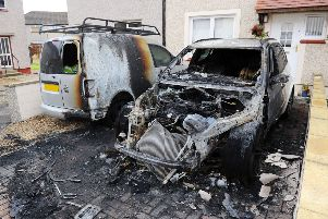 One of the damaged vehicles in Bruart Avenue