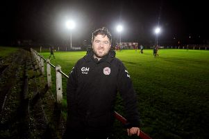 First team boss Gordon Herd watched the club's development side win under the new lighting system. Picture: Michael Gillen.