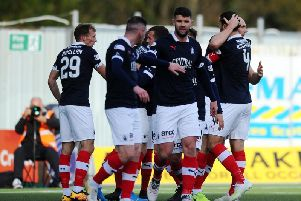 Falkirk celebrate goal against Peterhead (picture: Michael Gillen)