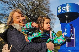 Nicola Wallace (31) and daughter Aila Robertson (3) from Larbert put the new tap to the test