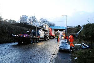 Road closed after lorry hits Camelon railway bridge