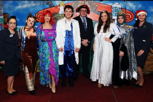 The Legends of Dick Whittington cast pictured with hotel general manager Brett Ingle (centre) and colleagues. Picture: Michael Gillen
