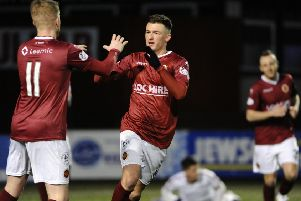 Players celebrate after Stenhousemuir's second goal (Pics by Alan Murray)