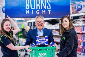 George Allan with section leader Heather Ward and Asda Buyer Heather Turnbull.